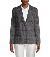 plaid-print blazer