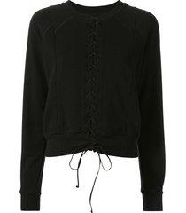 unravel project lace front sweatshirt - black