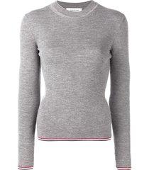 thom browne rwb-trim long-sleeve jumper - grey