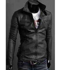 handmade mens slim fit black leather jacket, mens stand collar slim fit jacket