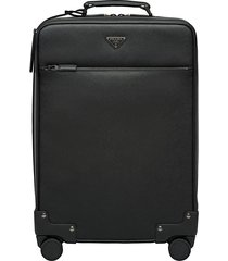 prada saffiano leather wheeled carry-on - black
