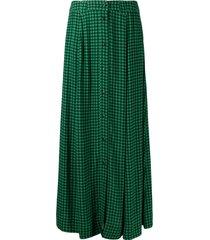 ganni gingham-check crepe skirt - green