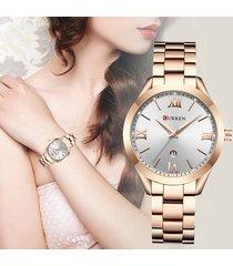 reloj dama elegante acero curren casual análogo fechador