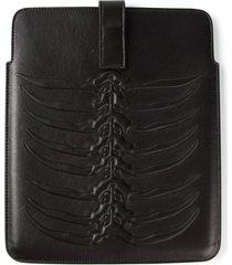 alexander mcqueen rib cage tablet case - black