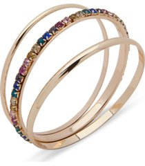 anne klein gold-tone 3-pc. set stone & polished bangle bracelets, created for macy's