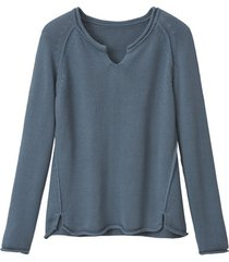 gebreide trui van puur bio-katoen, rookblauw 44/46