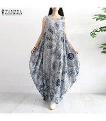 zanzea vestido sin mangas sin mangas de gran tamaño con estampado floral vestido largo largo informal kaftan -azul marino