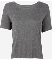 camiseta rosa chá guiga malha cinza mescla feminina (cinza mescla escuro, gg)