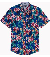 tommy hilfiger adaptive men's custom-fit hot tropical print shirt with magnetic buttons