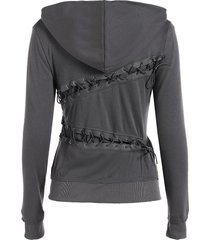trendy hooded long sleeve solid color lace-up women's hoodie