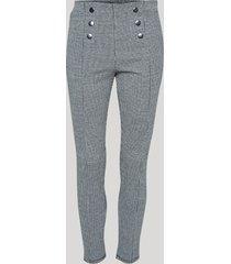 calça legging feminina cintura alta estampada pied de poule com botões cinza mescla