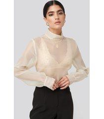 na-kd classic high neck organza blouse - white