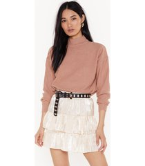 womens came tier to party mini skirt - cream