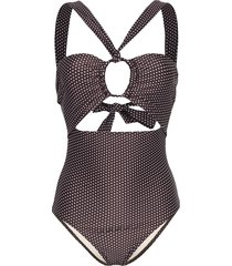 peony september cutout polka-dot halterneck swimsuit - brown