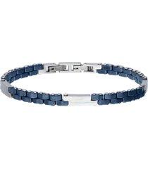 bracciale blu in acciaio a maglie blu e silver per uomo