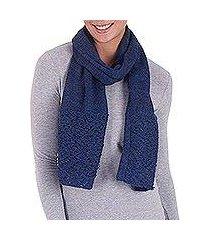 100% alpaca scarf, 'royal fashion in indigo' (peru)
