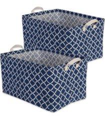 design imports polyethylene coated cotton polyester laundry bin lattice rectangle medium set of 2