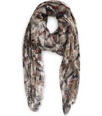 women's nordstrom print modal & silk scarf, size one size - grey