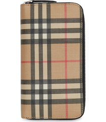 burberry vintage check e-canvas ziparound wallet - yellow