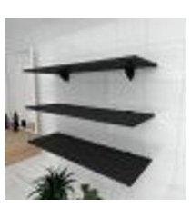 kit 3 prateleiras para banheiro em mdf suporte tucano preto 90x30cm modelo pratbnp03