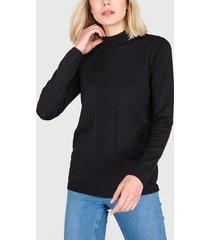 sweater ash liso negro - calce ajustado