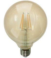 lâmpada led g95 com filamento 6w bivolt 2400k luz amarela