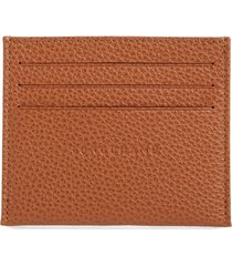 women's longchamp le foulonne leather slim card case - brown