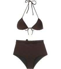 adriana degreas belted hot pants bikini set - brown