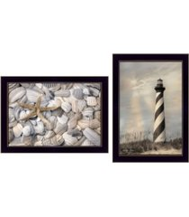 "trendy decor 4u cape hatteras lighthouse and sea shells collection by lori deiter, printed wall art, ready to hang, black frame, 20"" x 14"""