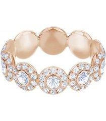 anillo angelic, blanco, baño en tono oro rosa