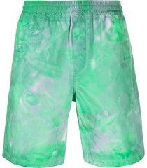 msgm tie-dye print track shorts - green