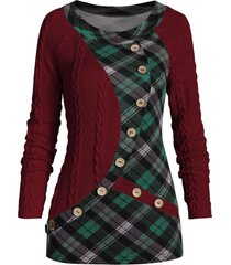 plaid print insert mock button cable knit sweater