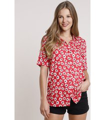 camisa feminina ampla estampada floral manga curta vermelha
