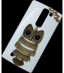 cute retro bronze metal owl branch hard back skin shell case cover for lg magna