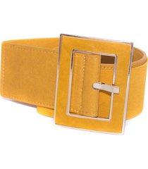 cinturon elastico hebilla forrada amarillo mailea