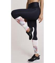 calça legging feminina esportiva ace com recorte floral preta