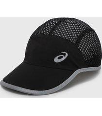 gorra negro-plateado asics