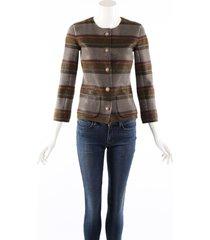chanel multicolor striped cashmere knit cardigan sweater multicolor sz: s
