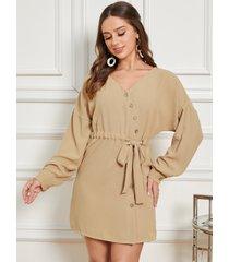 yoins botón oblicuo para atar diseño cuello en v manga larga mini vestido