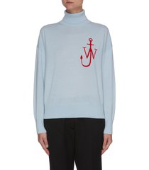 anchor logo funnel neck merino wool sweater