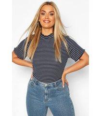 plus lettuce hem stripe rib t-shirt, navy