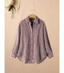 camicetta in velluto a coste con colletto rovesciato a maniche lunghe tinta unita per donna