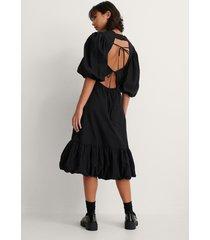 trine kjaer x na-kd back detail volume sleeve dress - black