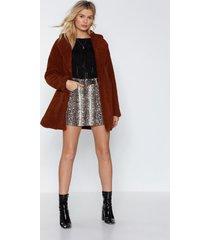 womens long december faux fur coat - brown