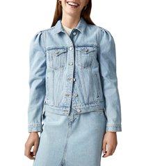 women's scotch & soda amsterdam blauw organic cotton denim trucker jacket, size medium - blue