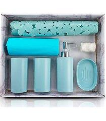 kit banheiro completo saboneteira tapete porta escovas cortina box azul - kanui