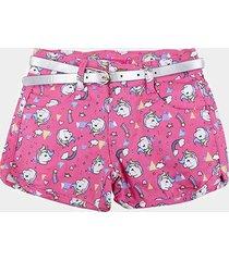 shorts bebê plural kids c/ cinto unicórnio menina