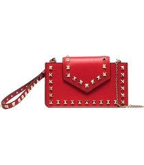 valentino garavani rockstud-embellished clutch bag - red