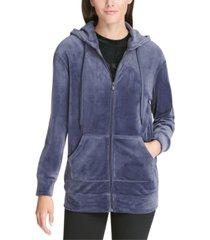 dkny sport velour zip hoodie