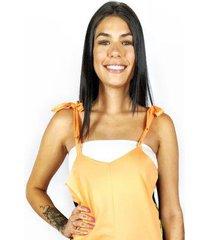 macaquinho wss brasil laranja estampado - feminino